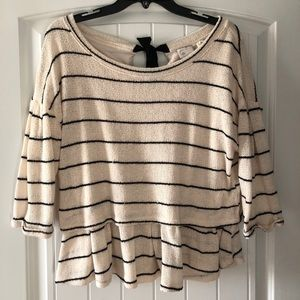 Anthropologie stripe sweater shirt with bow
